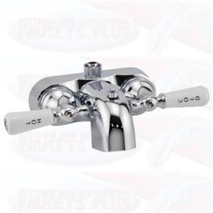 Chrome Clawfoot  Add-A-Shower Bathcock Diverter Faucet - Porcelain Lever Handles