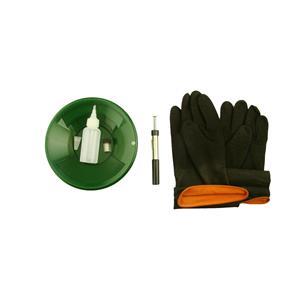 "10"" Green Gold Pan Kit + Rubber Gloves,  Magnet, Snuffer Bottle & 1"" Vial"