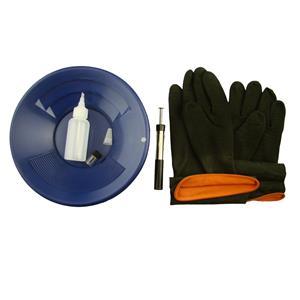 """10"""" Blue Gold Pan Kit + Rubber Gloves,  Magnet, Snuffer Bottle & 1"""" Vial"""