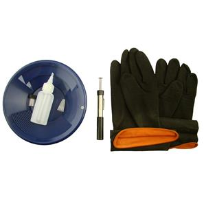 "8"" Blue Gold Pan Kit + Rubber Gloves,  Magnet, Snuffer Bottle & 1"" Vial"