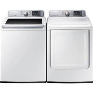 Samsung White Electric Top/ Front Washer & Dryer Set WA45H7000AW / DV45H7000EW