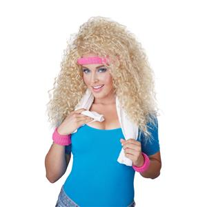 Let's Get Physical Big Blonde Curly Costume Wig with Headband and Wristbands