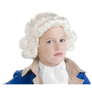 Historical White George Washington Colonial Boy Child Wig