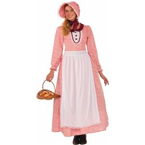 Pioneer Woman Dress and Bonnet Adult Costume