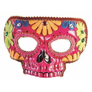 Day Of The Dead Pink Half Skull with Flowers Adult Venetian Mask