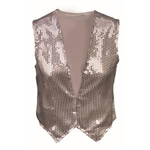 Silver Sequin Vest Adult Dazzle Dapper Accessory 1980s Up to Size 42