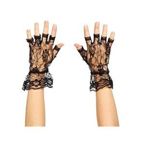 Wome's Black Lace Fingerless Gloves 80's Material Girl