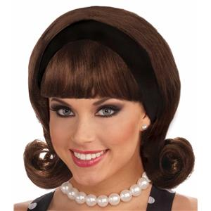50's Brown Flip Wig with Headband and Bangs