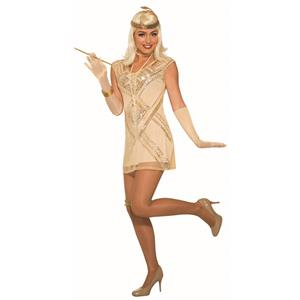 Beaded Beige Flapper Sexy Adult Costume Size MD/LG (8-12)