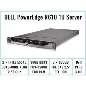 DELL PowerEdge R610 1U Server 2×Quad-Core Xeon 2.53GHz + 96GB RAM + 6×600GB RAID