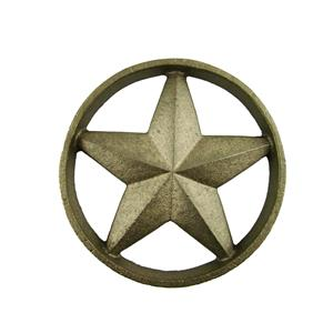 Cast Iron Round Texas Star -Weldable Paintable Deco Fence Gate House Barn 5-1/4""