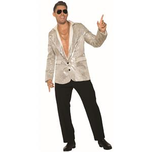 Silver Sequin Blazer Adult Men's Disco Jacket With Pockets X-Large