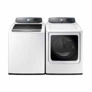 Samsung White top load washer and front load dryer set WA56H9000AW / DV56H9000EW