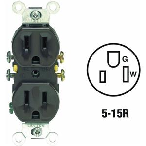 Leviton 5320-CP Duplex Outlet BROWN 15A 125V NEMA 5-15R Straight Blade 10 pack