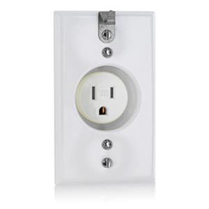 Leviton T5015-CHW Single Receptacle Outlet 15A 125V White NEMA 5-15R Recessed