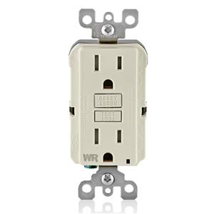 Leviton GFWT1-I 20A/125V Ivory Receptacle/Outlet Self-test SmartLock GFCI TR