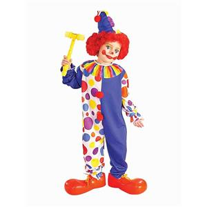 Clown Child Costume Blue and Polka Dot Medium 8-10