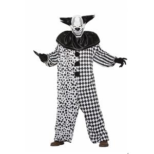 Evil Al The Black and White Creepy Clown Adult Costume and Mask