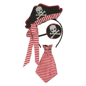 Red and White Glitter Pirate Headband, Eyepatch and Tie Womens Kit