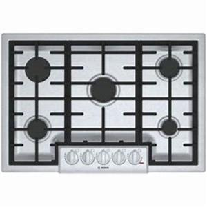 "Bosch 800 Series 30"" 5 Sealed Burner LED Cast-Iron SS Gas Cooktop NGM8056UC"