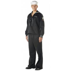 Black Seaman Adult Navy Military Costume Large