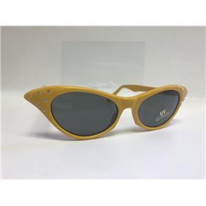 Yellow 1950's Cateye Cat Eye Glasses with Rhinestones Dark Lens Sunglasses
