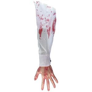 Bloody Hand and Arm with White Shirt Hang out of Trunk Halloween Gag Prop