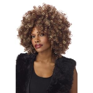 Fine Foxy Fro Two Tone Brown Blonde Curly Afro Wig