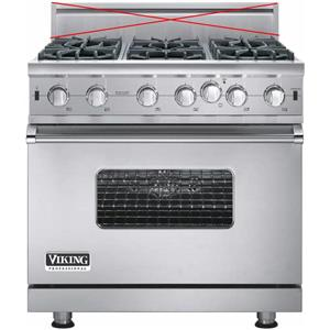 "Viking Professional 5 Series 36"" Pro-Style Convection Gas Range VGIC53616BSSLP"