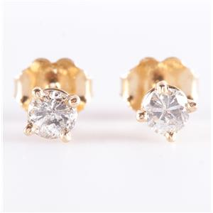 14k Yellow Gold Round Cut Diamond Solitaire Stud Earrings .40ctw