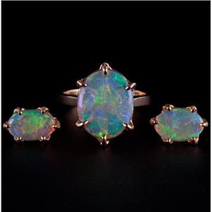 """18k Yellow Gold Oval Cabochon Cut """"AAA"""" Opal Solitaire Ring & Earring Set 5.3ctw"""