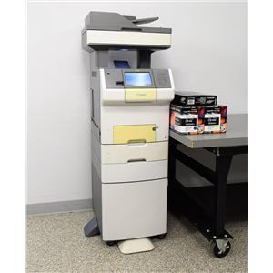 Lexmark XS736de Laser Multifunctional Printer w/ Extra Paper Tray & Storage Cart