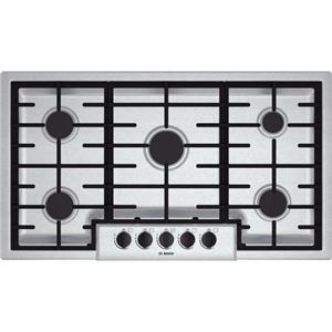 "Bosch 500 Series 36"" 5 Sealed opti sim Burners Stainless Gas Cooktop NGM5656UC"