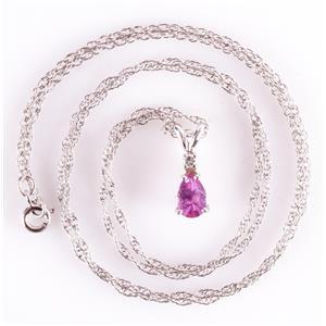 14k White Gold Pear Cut Pink Sapphire & Diamond Pendant W/ Chain .35ctw