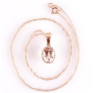 "14k Rose Gold Oval Cut Morganite & Diamond Halo Pendant W/ 18"" Chain 1.34ctw"