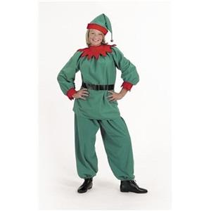 Halco Christmas Elf Velour Santa Helper Costume Suit Adult Medium Size 8-12