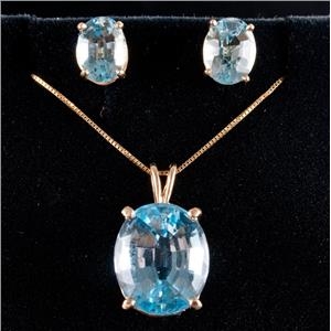 14k Yellow Gold Oval Cut Blue Topaz Solitaire Necklace / Earring Set 15.40ctw