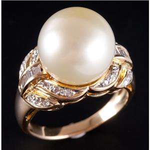 14k Yellow Gold South Sea Cultured Pearl Solitaire Ring W/ Diamond Accents .37ct