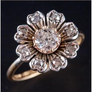 Vintage 1910's 18k Yellow / Rose Gold & Platinum Diamond Engagement Ring .74ctw