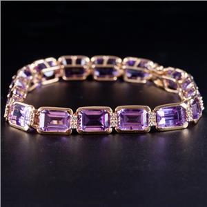 14k Yellow Gold Emerald Cut Amethyst & Diamond Tennis Bracelet 17.17ctw