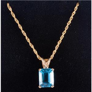 "14k Yellow Gold Emerald Cut Blue Topaz Solitaire Pendant W/ 20"" Chain 3.0ct"