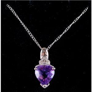 "10k White Gold Heart Cut Amethyst & Diamond Pendant W/ 18"" Chain 1.68ctw"