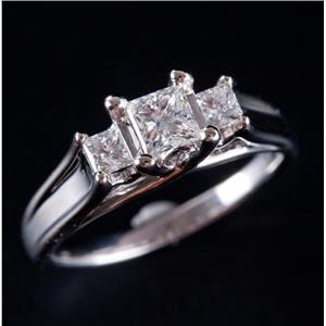 14k White Gold Princess Cut Three-Stone Diamond Engagement Ring .68ctw