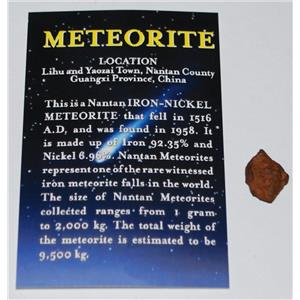 Nantan Iron Genuine Meteorite - ONE - Size (S) 1 1/2 to 3 gram