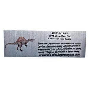 Spinosaurus Dinosaur Fossil Large Metal Display Label 6x2 #11754 8o