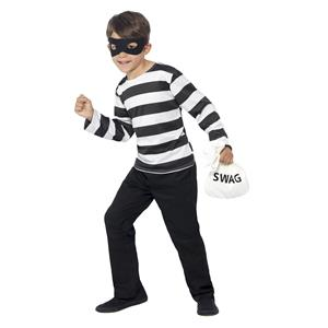 Unisex Kids Burglar Child Costume Size Large 10-12