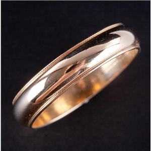 14k Yellow Gold Traditional Milgrain Style Half Round Wedding Band / Ring 4.0g
