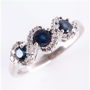 14k White Gold Round Cut Dark Blue Sapphire & Diamond Ring .91ctw