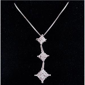 "14k White Gold Princess Cut Invisible Set Diamond Pendant W/ 18"" Chain .68ctw"