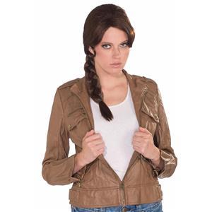 Women's Survivor Brown Braid Costume Wig